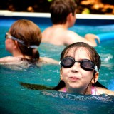 Children play in the pool