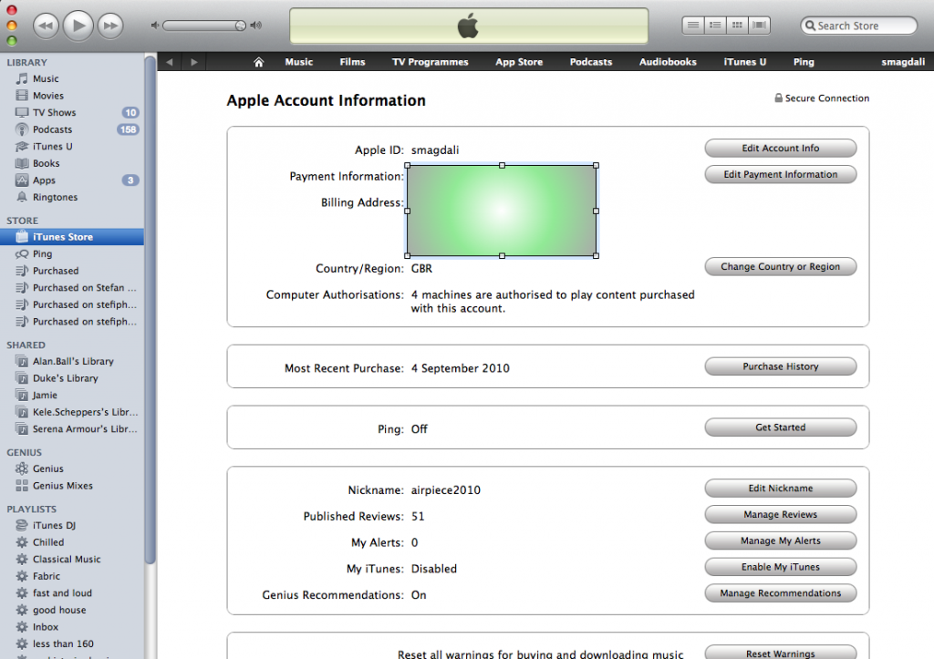 iTunes Ping Privacy leak